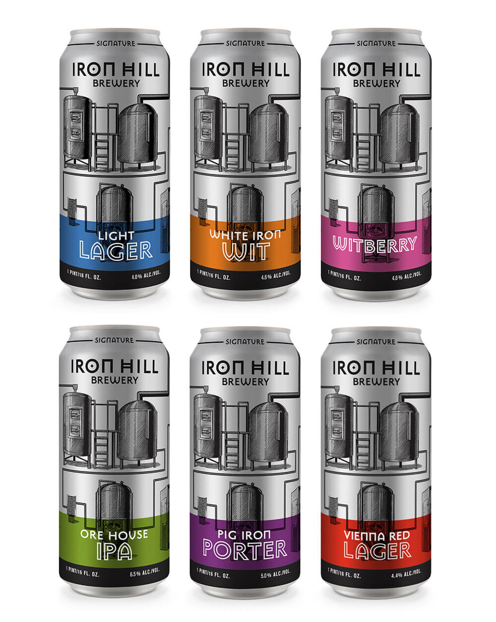 An array of Iron Hill cans with packaging designs that Smith Brothers made.
