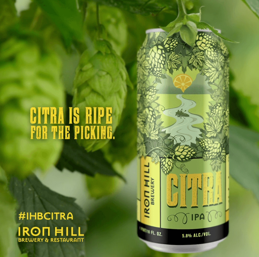 Iron Hill Citra beer social video preview. text reads: Citra Is Ripe For The Picking.