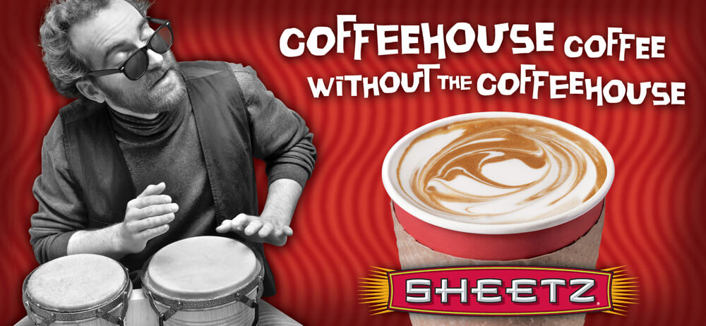 P.O.S. advertisement for Sheetz. Man playing Bongos. Text reads: Coffeehouse coffee without the coffeehouse.