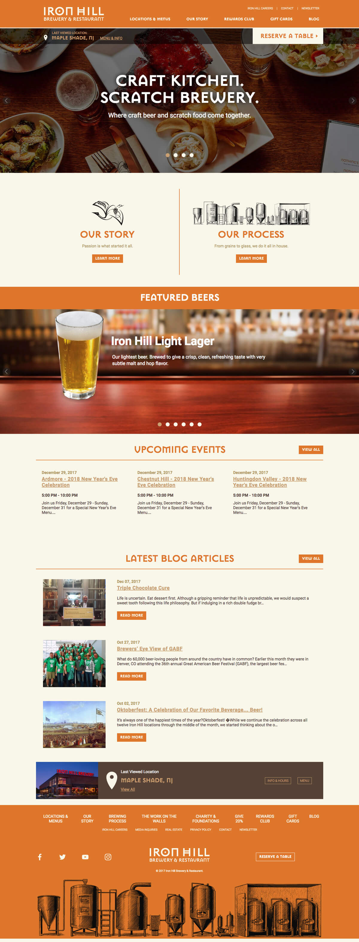 A screen capture of the Iron Hill Brewery website home page.