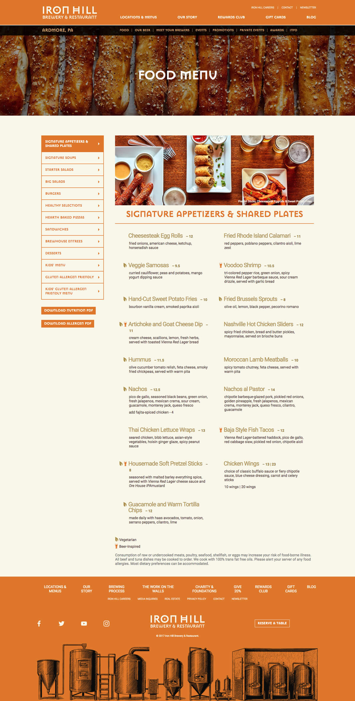 A screen capture of the Iron Hill Brewery website food menu page.