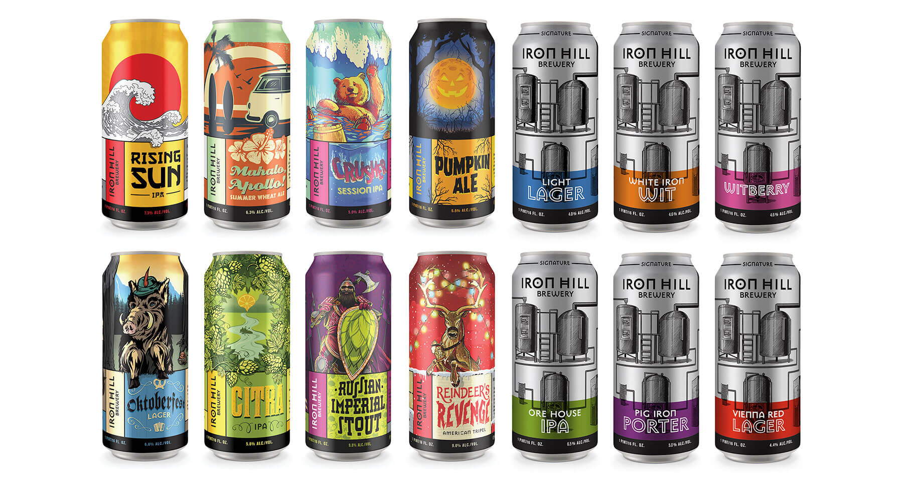 An array of 14 cans we designed for Iron Hill Brewery.