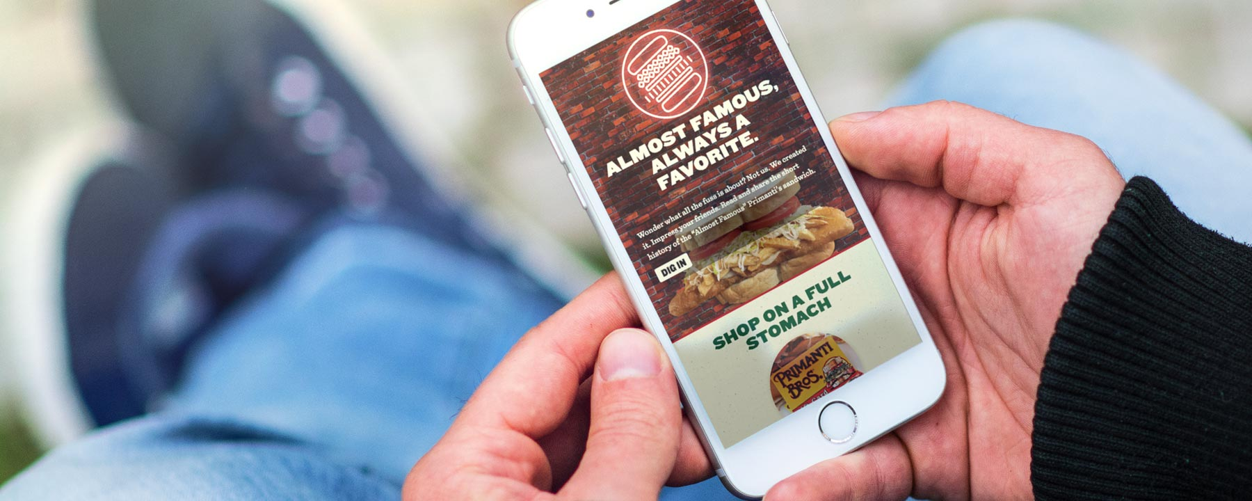 Primanti Brothers' website shown on a mobile device.
